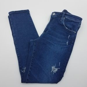 AG The Stevie Ankle Distressed Slim Straight Jeans